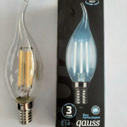 Лампа Гаус LED Filament свеча на ветру прозрачная 9w E14 4100k